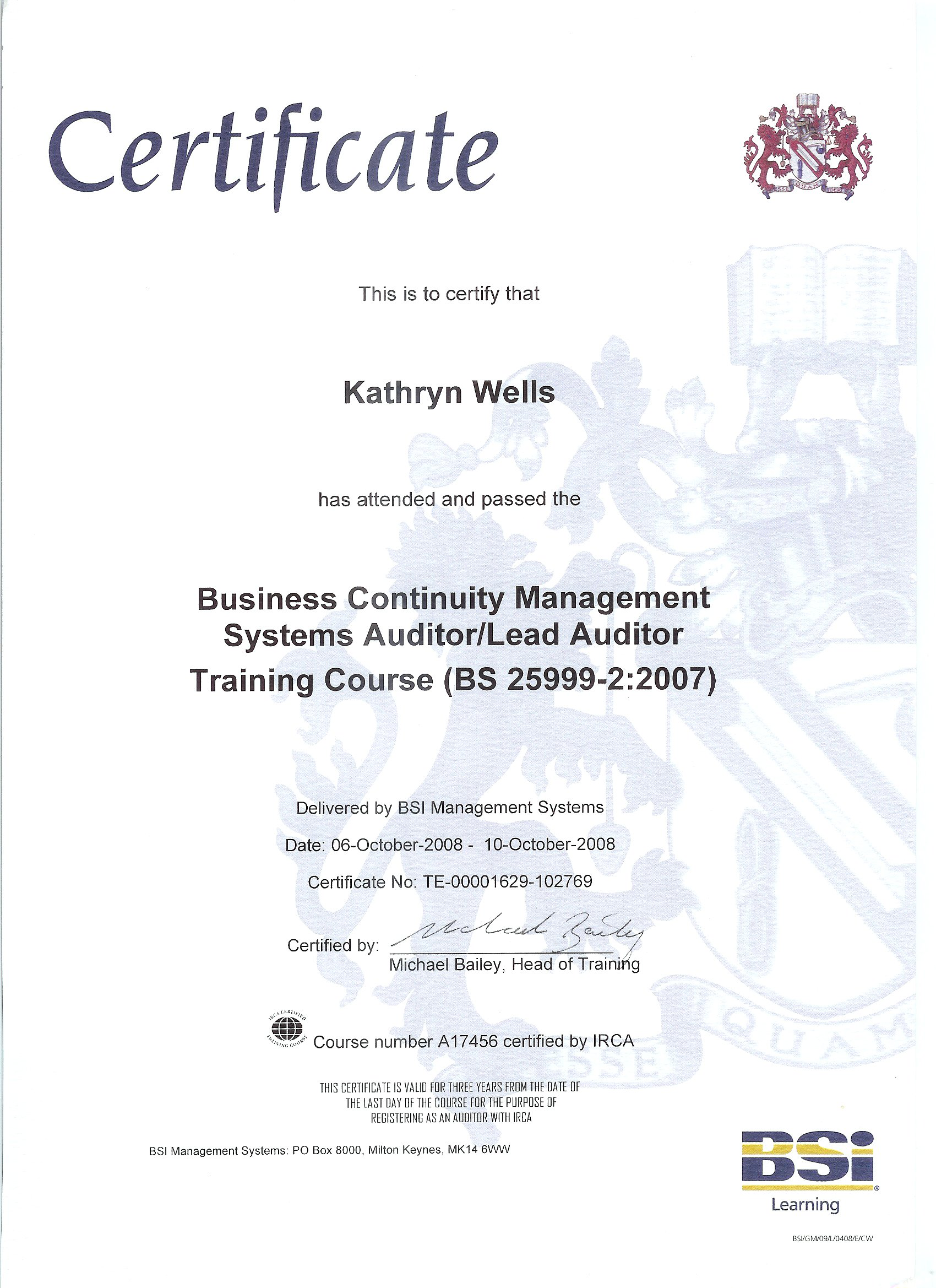 Little green consulting environmental business continuity kathryn wells bcm lead auditor certificate 516 kb 1betcityfo Gallery